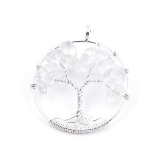 34557-03 SILVER TREE OF LIFE 33 MM PENDANT WITH STONES IN WHITE QUARTZ