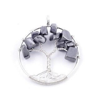 34557-06 SILVER TREE OF LIFE 33 MM PENDANT WITH STONES IN HEMATITE