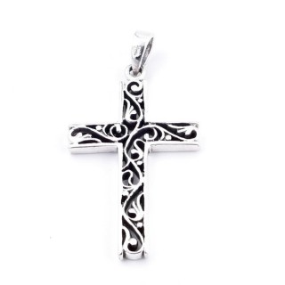 34572 STERLING SILVER CROSS SHAPED 42 X 25 MM WITH CUTWORK