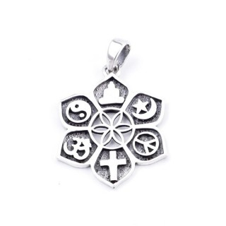 34574 STERLING SILVER 28 MM PENDANT WITH SYMBOLS OF VARIOUS RELIGIONS