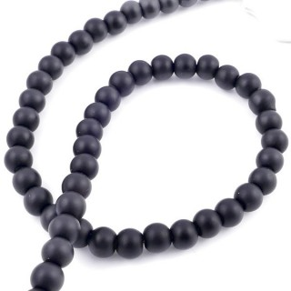 42205 STRING OF 48 BEADS OF 8 MM RECONSTRUCTED SHUNGITE