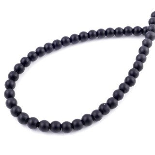 42204 STRING OF 65 BEADS OF 6 MM RECONSTRUCTED SHUNGITE