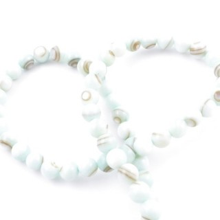 41555-12 STRING OF 62 BEADS OF MOTHER OF PEARL IN 6 MM