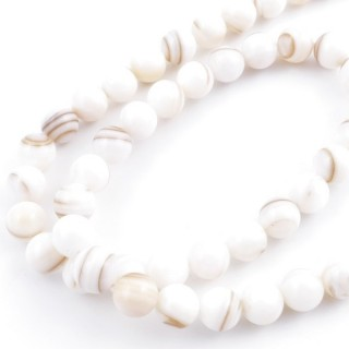 41557 STRING OF 48 BEADS OF MOTHER OF PEARL IN 8 MM