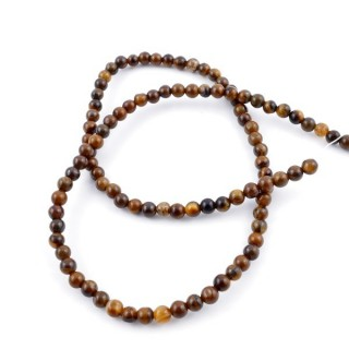 40003 STRING OF 104 BEADS OF 4 MM NATURAL TIGER'S EYE STONE