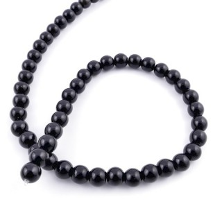 40455 STRING OF 48 BEADS OF NATURAL ONYX STONE IN 8 MM