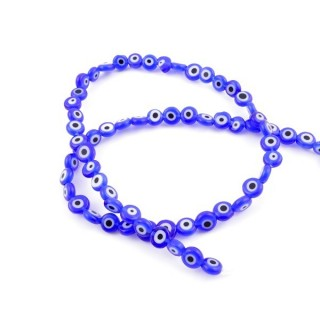 42166 STRING OF 62 BUTTON SHAPED BEADS OF 6 MM BLUE EVIL EYE GLASS