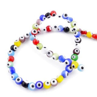43154 STRING OF 65 BEADS OF 6 MM MULTI-COLOURED TURKISH EYE GLASS