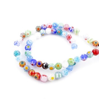 43204 STRING OF 64 BEADS OF GLASS WITH MURANO TYPE DESIGN IN 6 MM