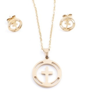 35585-09 SET OF CHAIN, PENDANT AND MATCHING EARRINGS IN STAINLESS STEEL