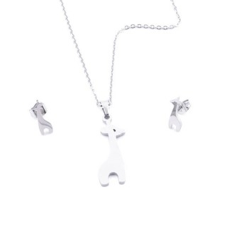 35584-01 SET OF CHAIN, PENDANT AND MATCHING EARRINGS IN STAINLESS STEEL