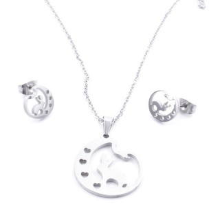 35584-10 SET OF CHAIN, PENDANT AND MATCHING EARRINGS IN STAINLESS STEEL