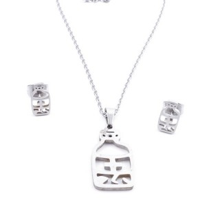 35584-11 SET OF CHAIN, PENDANT AND MATCHING EARRINGS IN STAINLESS STEEL