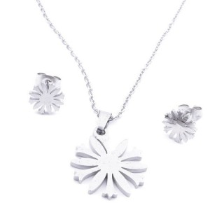35584-24 SET OF CHAIN, PENDANT AND MATCHING EARRINGS IN STAINLESS STEEL