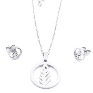 35584-26 SET OF CHAIN, PENDANT AND MATCHING EARRINGS IN STAINLESS STEEL