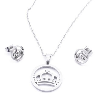 35584-27 SET OF CHAIN, PENDANT AND MATCHING EARRINGS IN STAINLESS STEEL