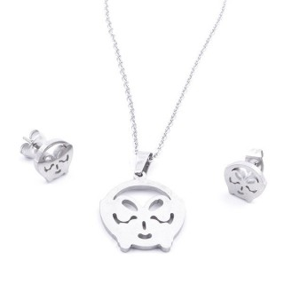 35584-30 SET OF CHAIN, PENDANT AND MATCHING EARRINGS IN STAINLESS STEEL