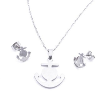 35584-40 SET OF CHAIN, PENDANT AND MATCHING EARRINGS IN STAINLESS STEEL