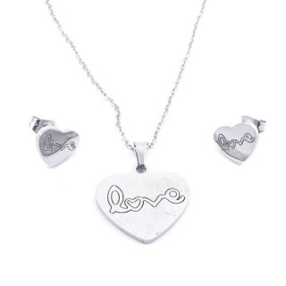 35584-41 SET OF CHAIN, PENDANT AND MATCHING EARRINGS IN STAINLESS STEEL