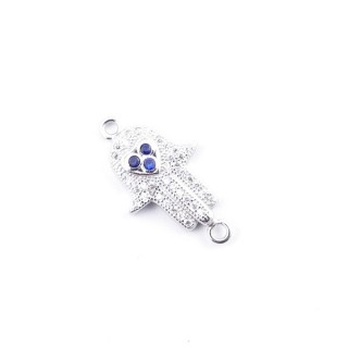 35597 RHODIUM PLATED SILVER 15 X 12 MM FINDING WITH ZIRCONS HAMSA