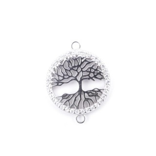 35600 RHODIUM PLATED SILVER 17 MM FINDING WITH ZIRCONS TREE OF LIFE