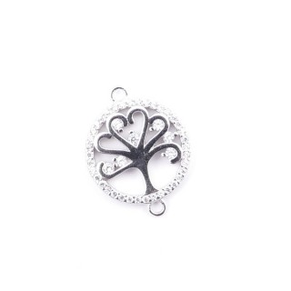 35601 RHODIUM PLATED SILVER 15 MM FINDING WITH ZIRCONS TREE OF LIFE