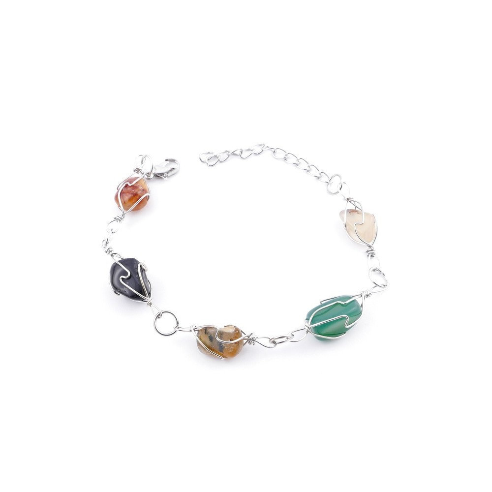 30688 PACK OF 12 NATURAL STONE BRACELETS WITH METAL
