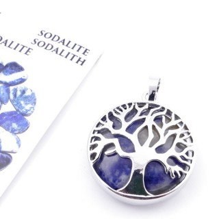35014-16 FASHION JEWELLERY TREE OF LIFE 27 MM PENDANT WITH STONE IN SODALITE
