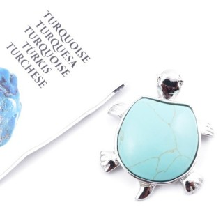 35805-03 METAL TURTLE SHAPED FASHION PENDANT WITH STONE IN TURQUOISE