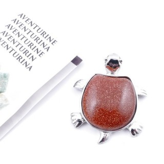 35805-10 METAL TURTLE SHAPED FASHION PENDANT WITH STONE IN GOLD SANDSTONE