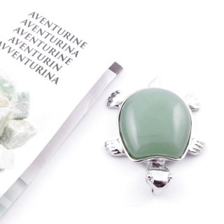 35805-12 METAL TURTLE SHAPED FASHION PENDANT WITH STONE IN GREEN AVENTURINE