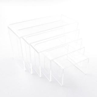33822-01 SET OF 5 ACRYLIC TABLE STANDS FROM 4 X 6 X 6 CM TO 8 X 14 X 6 CM