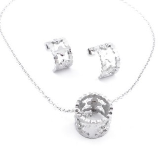 35850 SET OF STAINLESS STEEL EARRINGS AND MATCHING NECKLACE