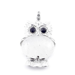35804-01 FASHION JEWELRY METAL OWL SHAPED PENDANT WITH STONE IN WHITE QUARTZ
