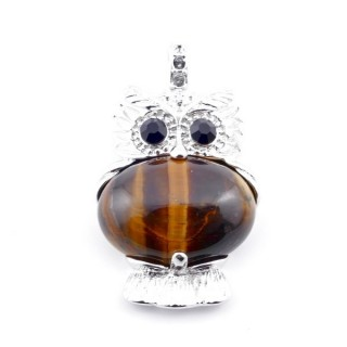 35804-09 FASHION JEWELRY METAL OWL SHAPED PENDANT WITH STONE IN TIGER'S EYE