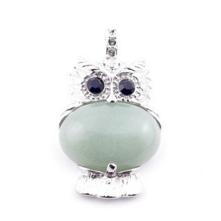 35804-12 FASHION JEWELRY METAL OWL SHAPED PENDANT WITH STONE IN GREEN AVENTURINE