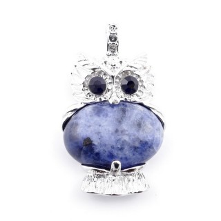 35804-13 FASHION JEWELRY METAL OWL SHAPED PENDANT WITH STONE IN LAPIS LAZULI