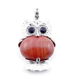 35804-15 FASHION JEWELRY METAL OWL SHAPED PENDANT WITH STONE IN RED JASPER