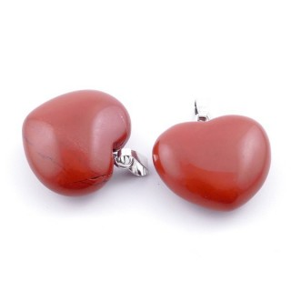 35700-15 PACK OF 2 HEART SHAPED 23 MM NATURAL STONE PENDANTS IN RED JASPER