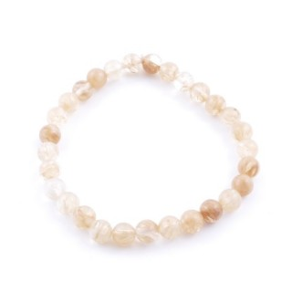 32942-45 ELASTIC 6 MM BRACELET WITH NATURAL STONE: GOLD RUTILE QUARTZ