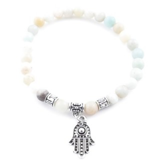 33766-01 ELASTIC AMAZONITE STONE BRACELET WITH FASHION JEWELRY HAMSA CHARM