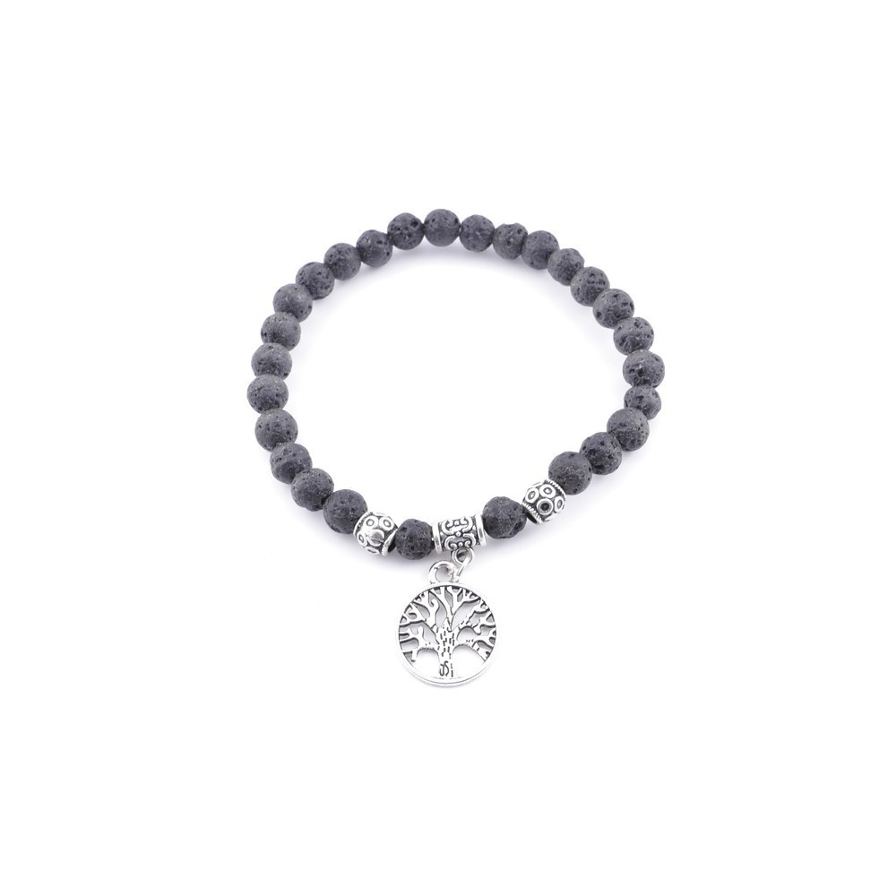 33766-04 ELASTIC LAVA STONE PEDANT WITH FASHION JEWELRY TREE OF LIFE CHARM
