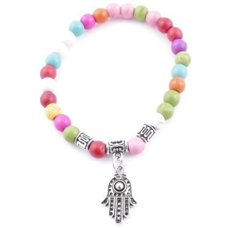 33766-07 ELASTIC MULTI-COLORED TURQUOISE STONE BRACELET WITH FASHION JEWELRY HAMSA CHARM