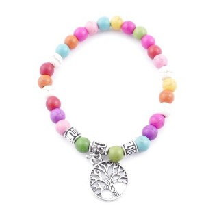 33766-08 ELASTIC MULTI-COLORED TURQUOISE STONE PEDANT WITH FASHION JEWELRY TREE OF LIFE CHARM