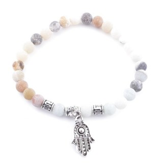 33766-11 ELASTIC MATT AMAZONITE STONE BRACELET WITH FASHION JEWELRY HAMSA CHARM