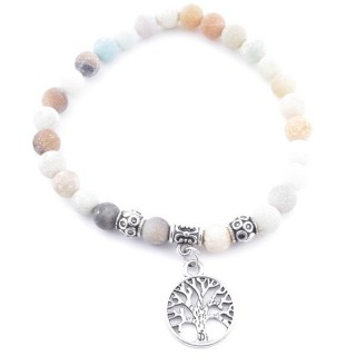 33766-12 ELASTIC MATT AMAZONITE STONE PEDANT WITH FASHION JEWELRY TREE OF LIFE CHARM