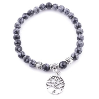 33766-14 ELASTIC SNOWFLAKE OBSIDIAN STONE PEDANT WITH FASHION JEWELRY TREE OF LIFE CHARM