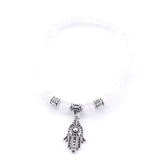 33766-15 ELASTIC WHITE JADE STONE BRACELET WITH FASHION JEWELRY HAMSA CHARM