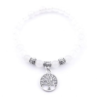 33766-16 ELASTIC WHITE JADE STONE PEDANT WITH FASHION JEWELRY TREE OF LIFE CHARM