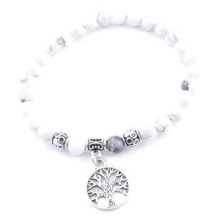 33766-20 ELASTIC HOWLITE STONE PEDANT WITH FASHION JEWELRY TREE OF LIFE CHARM